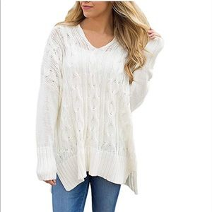 Beautiful women casual v neck loose fit sweater